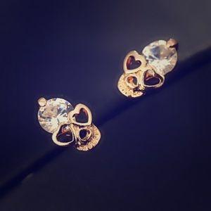 Crystal Gold Skull Heart Stud Earrings